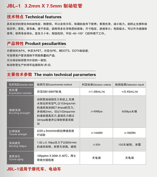 JBL-1 3.2mm*7.5mm制动软管